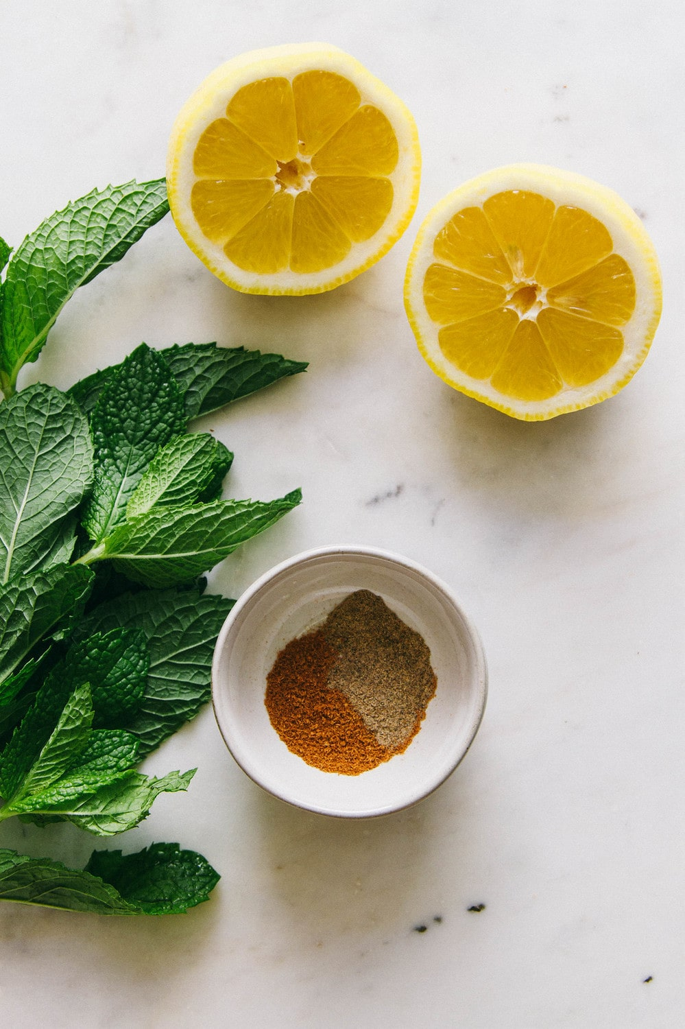 fresh mint, lemon and spices on a marble countertop