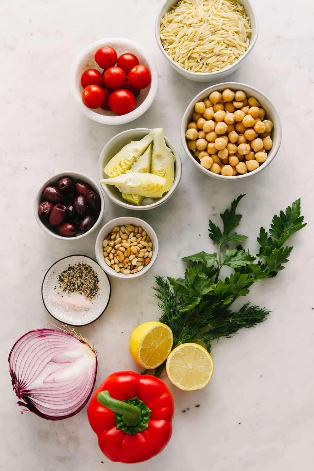 GREEK ORZO SALAD: Ingredients