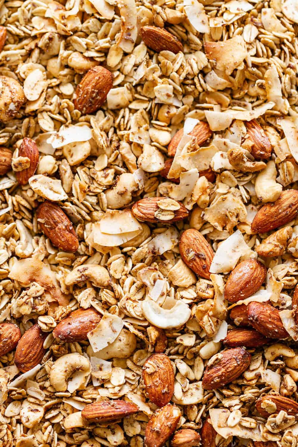 crunchy healthy homemade granola fresh from the oven
