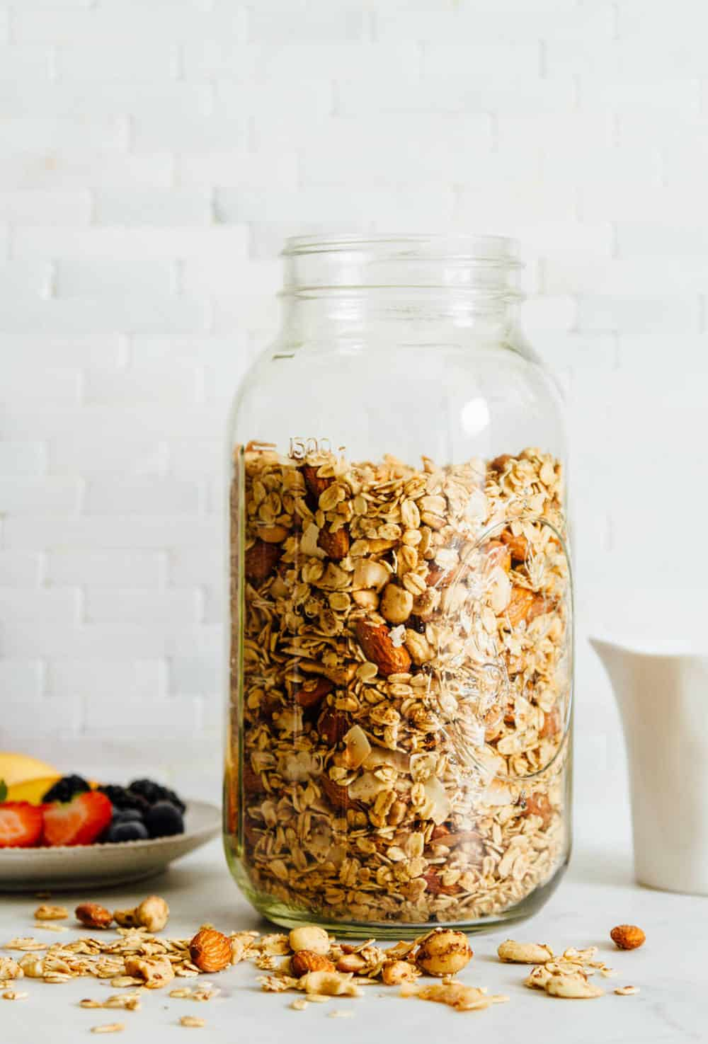 easy homemade granola in a mason jar for storing