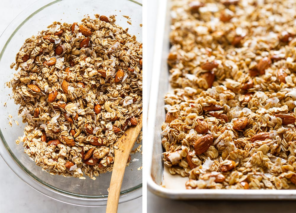 side by side view of granola mixed with wet ingredients, than placed on rimmed baking sheet
