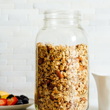 granola in a large glass mason jar