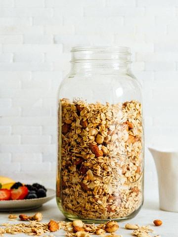 granola in a large glass mason jar