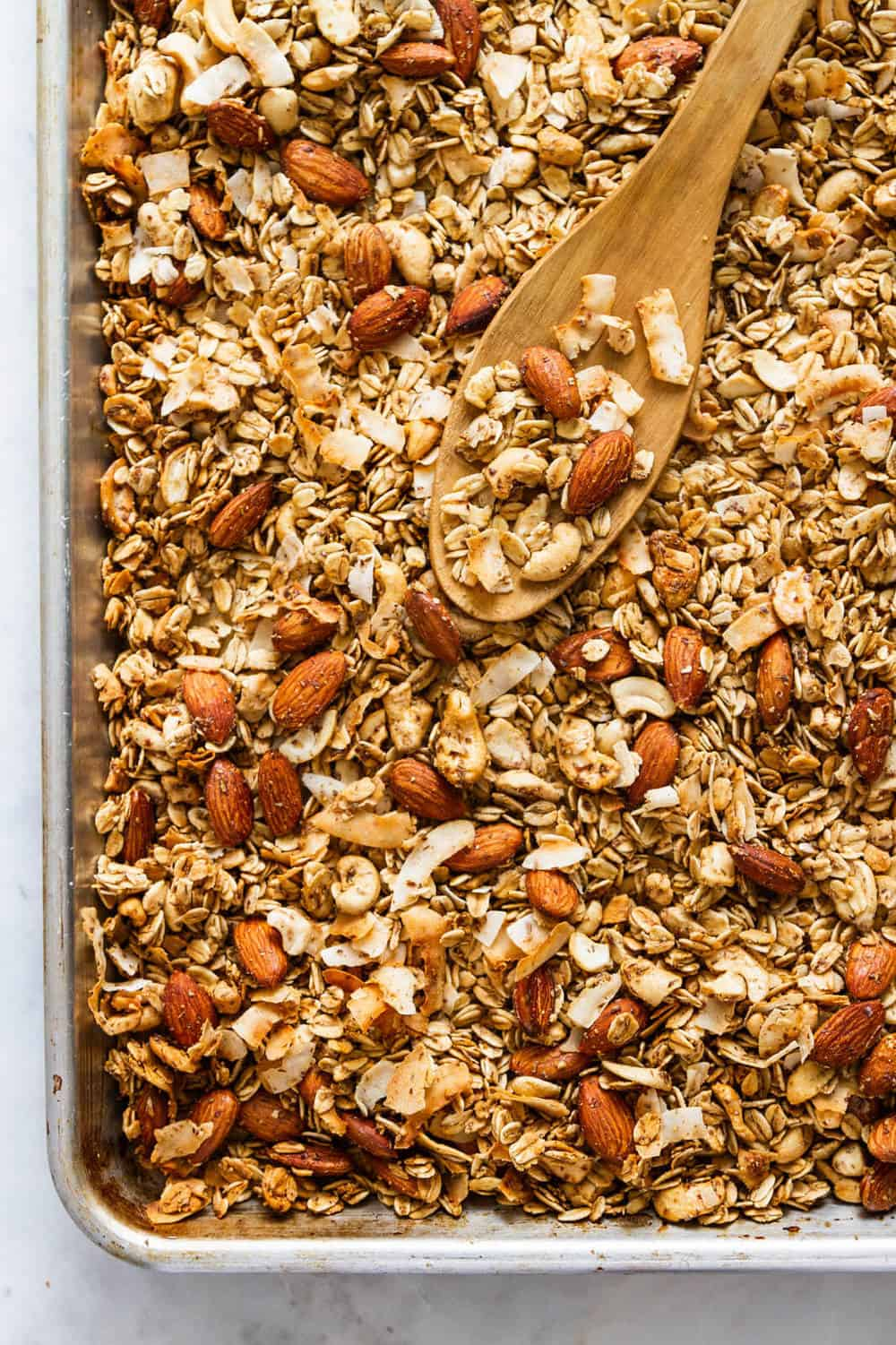 easy healthy homemade granola freshly pulled from the oven