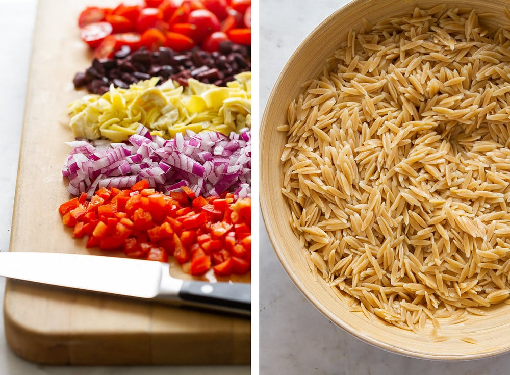 side by side shot of chopped ingredients and bowl of cooked orzo pasta