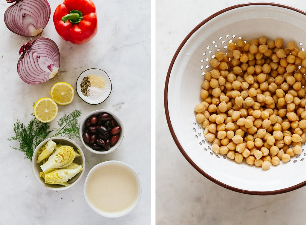side by side photos of in ingredients needed to make mediterranean smashed chickpea salad