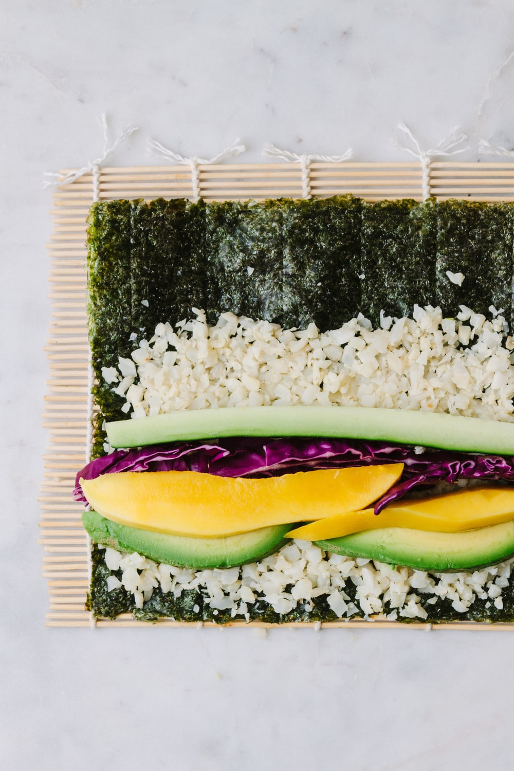 MANGO + AVOCADO CAULIFLOWER RICE SUSHI RECIPE