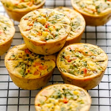 easy vegan chickpea flour frittatas resting on a cooling rack