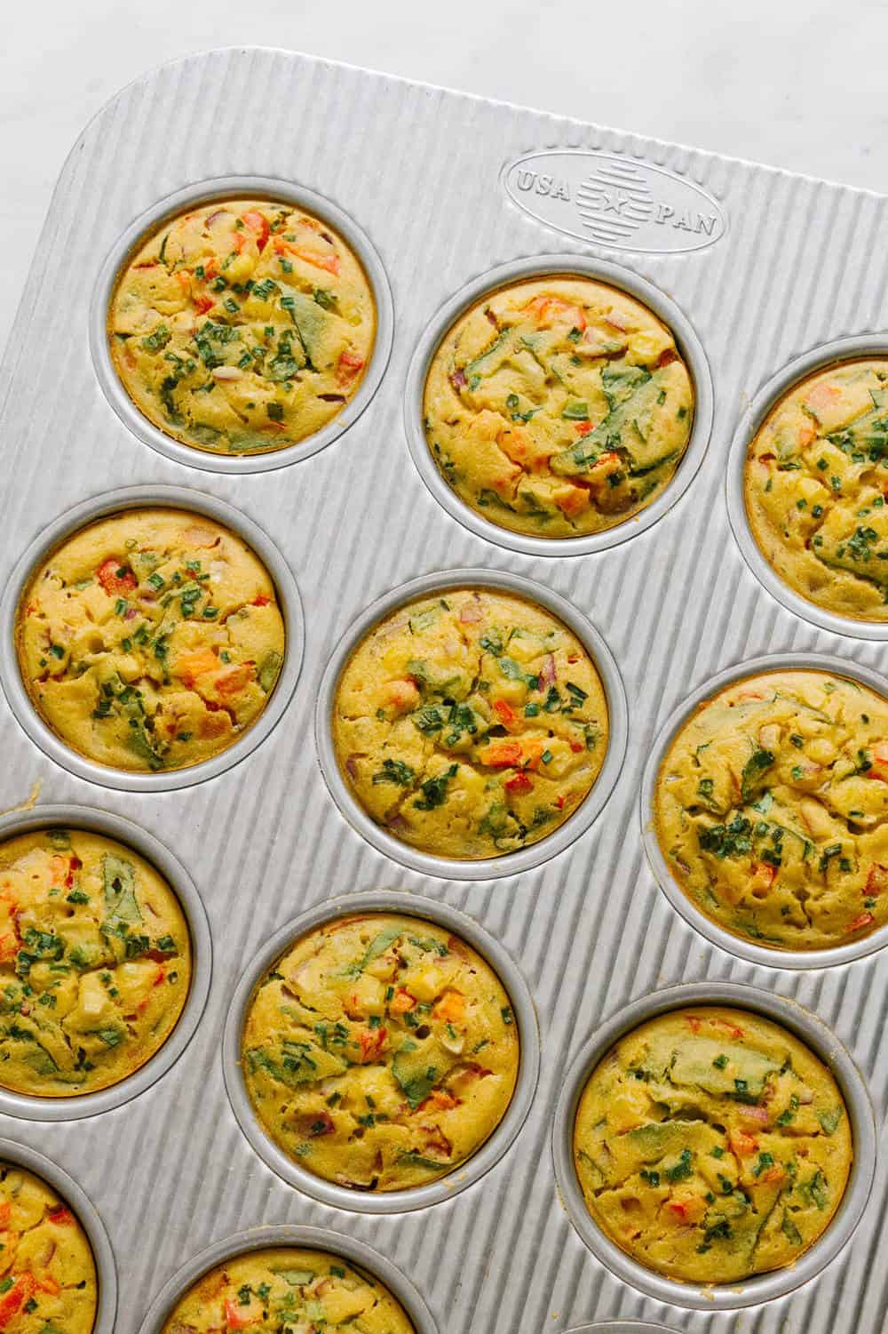 vegan chickpea flour frittatas just pulled from the oven