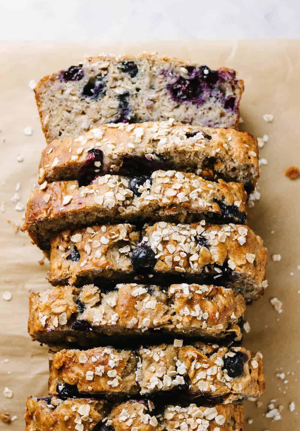 favorite healthy blueberry banana bread sliced