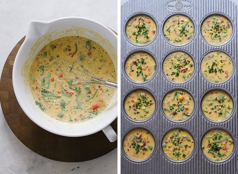 easy savory chickpea flour frittata batter freshly mixed and scooped into a 12 muffin tin
