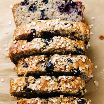 top down view of vegan blueberry banana oat bread cut into slices