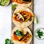 vegan portobello fajitas on corn tortilla
