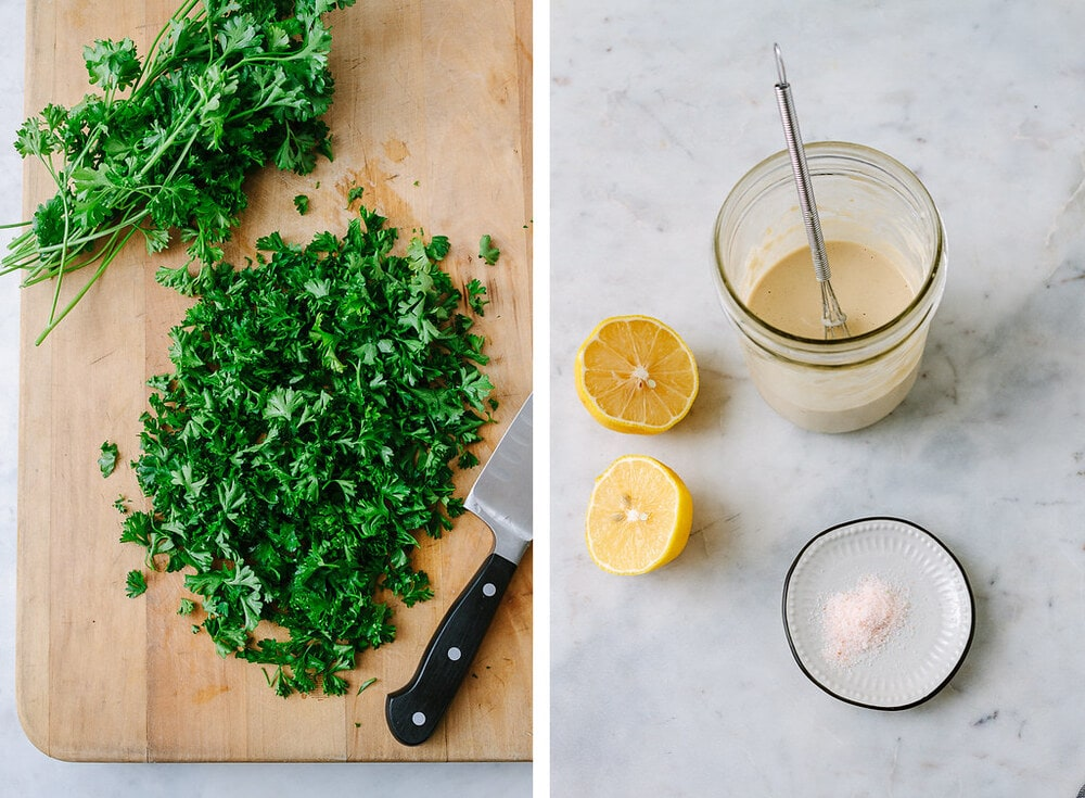 side by side picture of chopped parsley, next to lemon tahini dressing in a mason jar.
