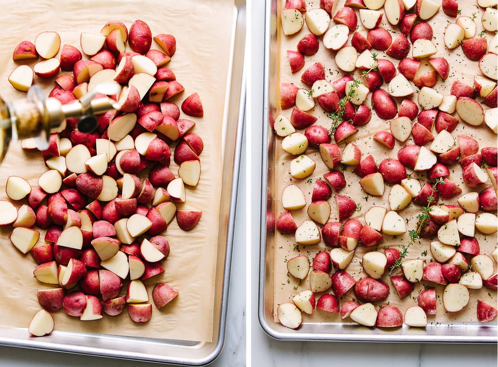side by side photos showing the process of making roasted red potatoes.