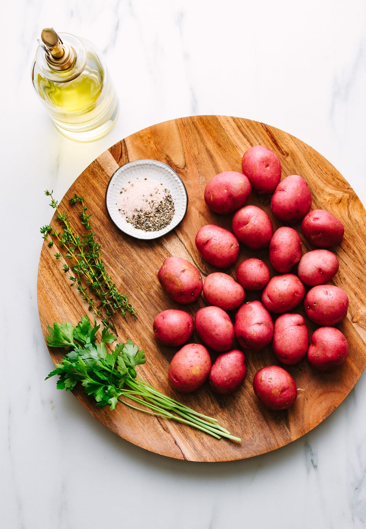 top down view of ingredients used to make oven roasted red potatoes recipe.