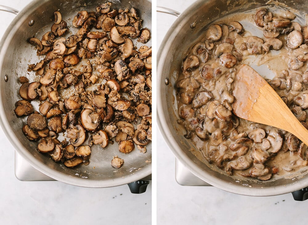 side by side photos of the process of making vegan mushroom gravy.