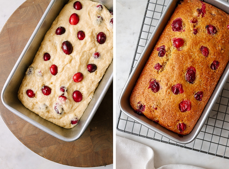 cranberry orange bread: before baking and after