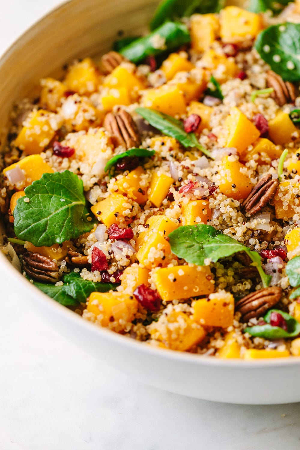 a side view of a large white serving bowl with autumn butternut squash and quinoa salad