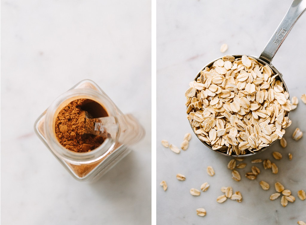 side by side photos of cinnamon and oatmeal.