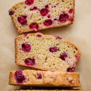 healthy oil free vegan cranberry orange bread with applesauce