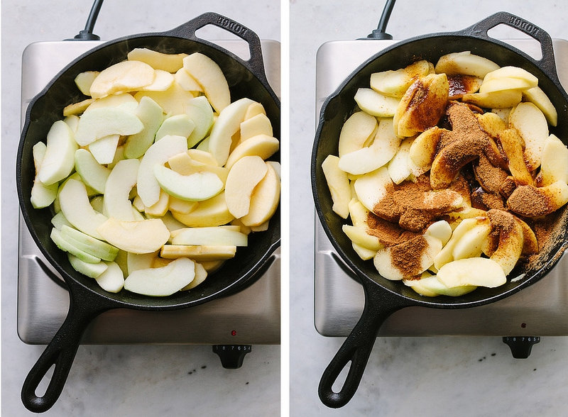 cinnamon apples cooking on the stovetop