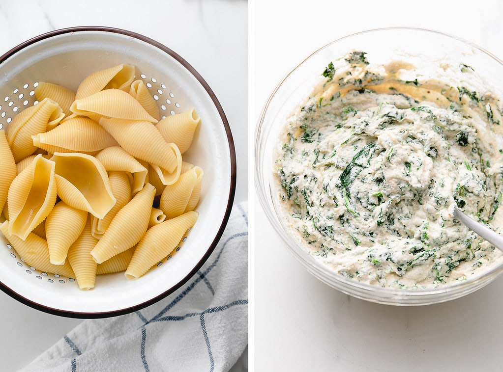 side by side photos of cooked jumbo shells and vegan spinach ricotta.