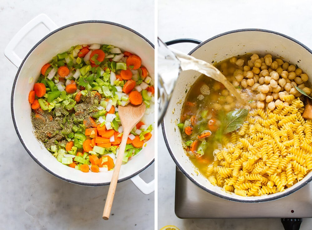 top down view of the process of making chickpea noodle soup in a white pot.