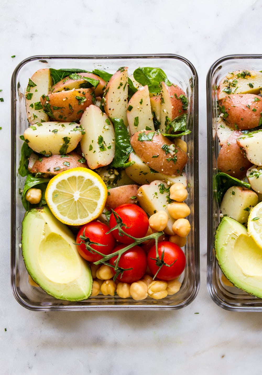 top down view of fresh herb potato salad meal prep idea.