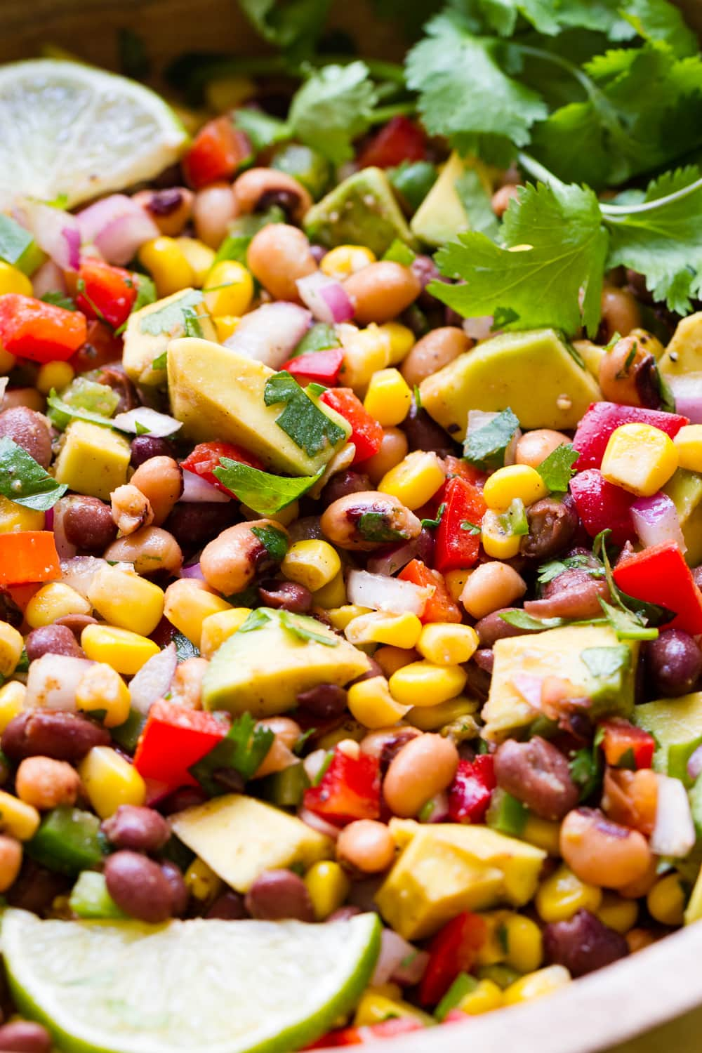 up close, side angle view of freshly made Texas cowboy caviar