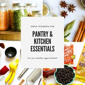 collage of pantry and kitchen essentials.