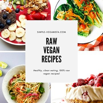 raw vegan recipes collage graphic.