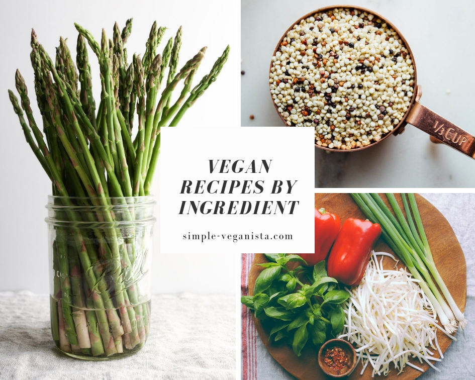 vegan recipes by ingredient collage.