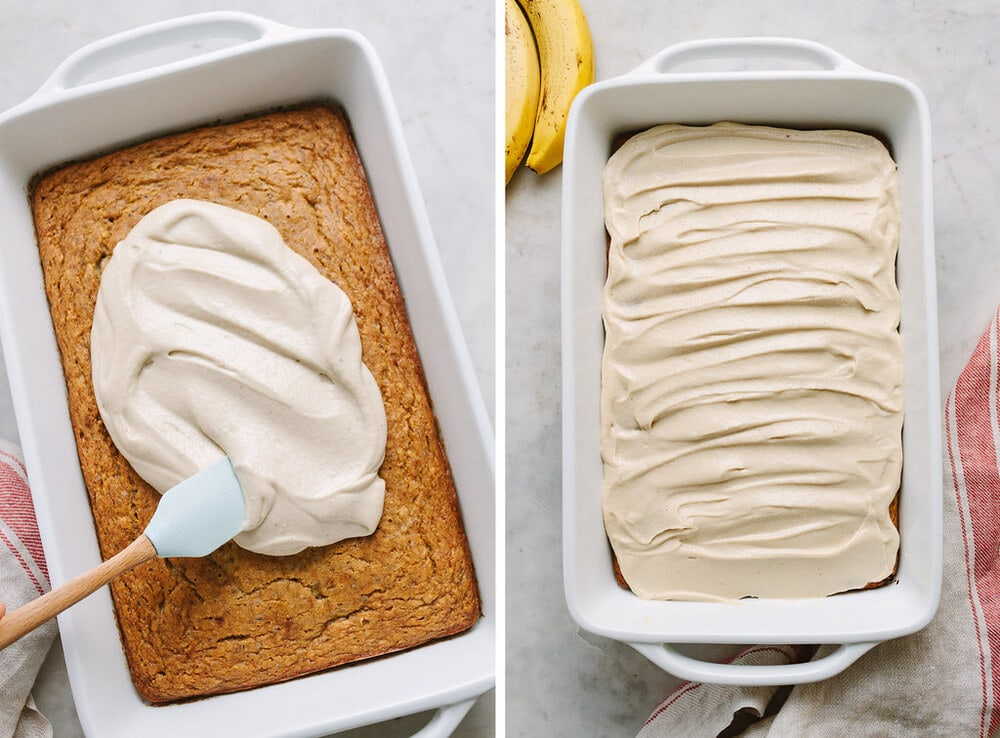 side by side photos of the process of spreading creamy cashew frosting on banana cake.