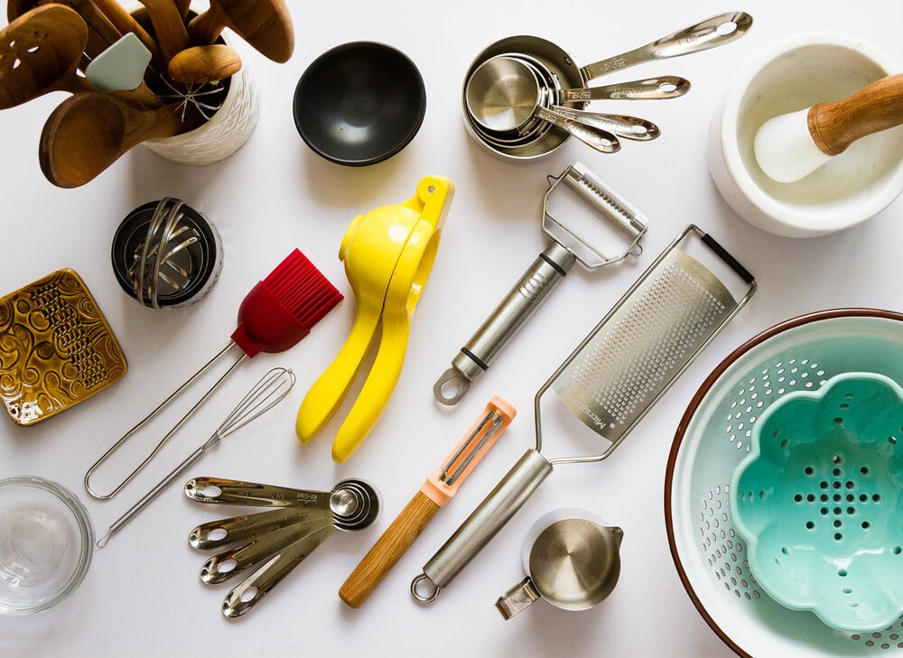 an assortment of kitchen tools.