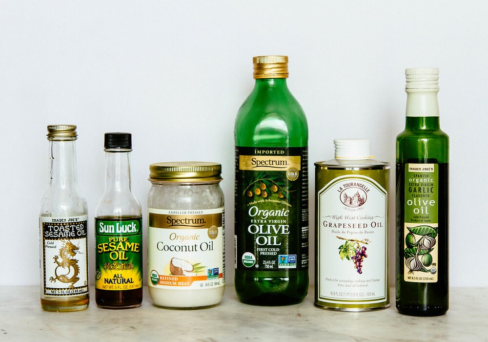 a variety of healthy oil for a vegan pantry.
