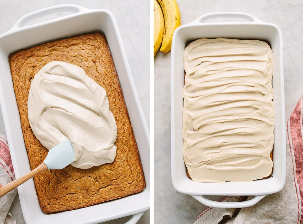 side by side photos of process of frosting vegan banana cake with coconut cashew buttercream.