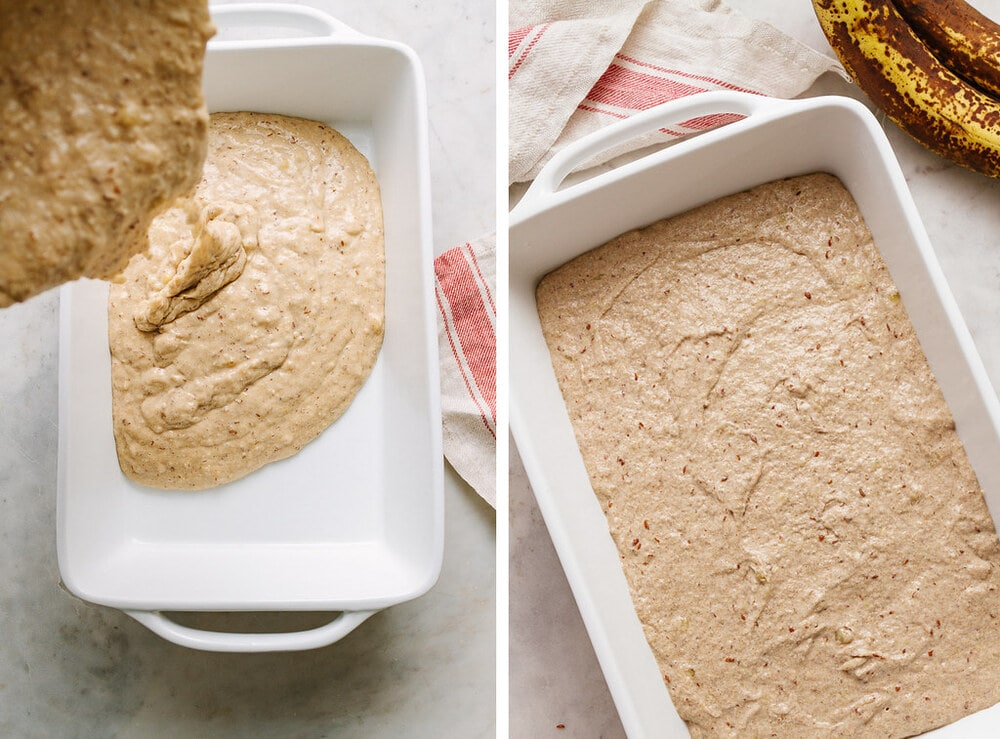 side by side photo of the process of pouring vegan banana cake batter into a baking dish.