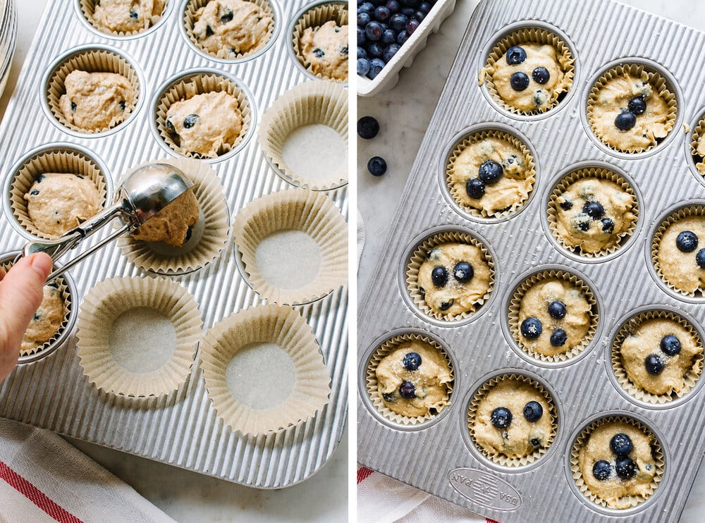 side by side by process of scooping muffin batter into muffin tin.