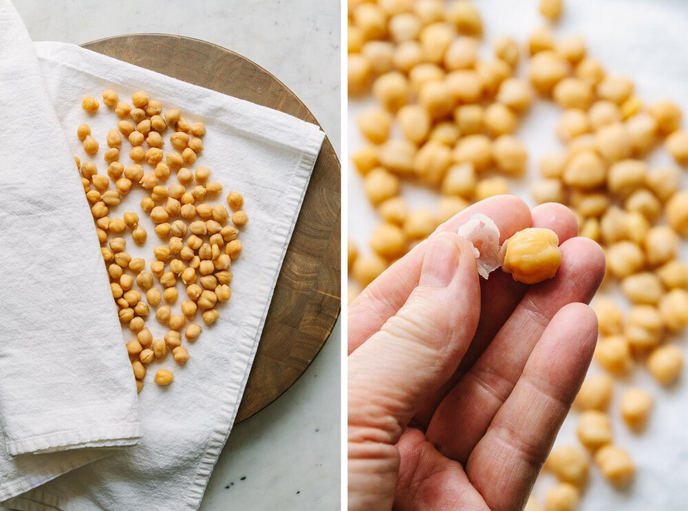 side by side photos of the process of drying and prepping chickpeas to be roasted in the oven.