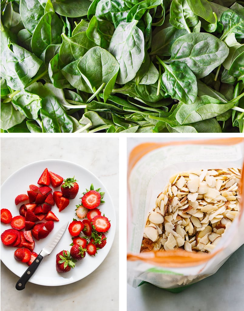 collage of strawberries, spinach and slivered almonds.