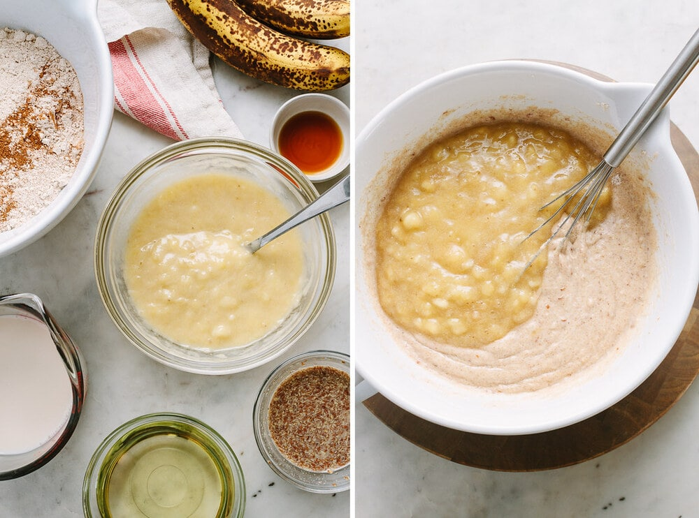 side by side photos of the process of measuring and mixing ingredients to make vegan banana cake.