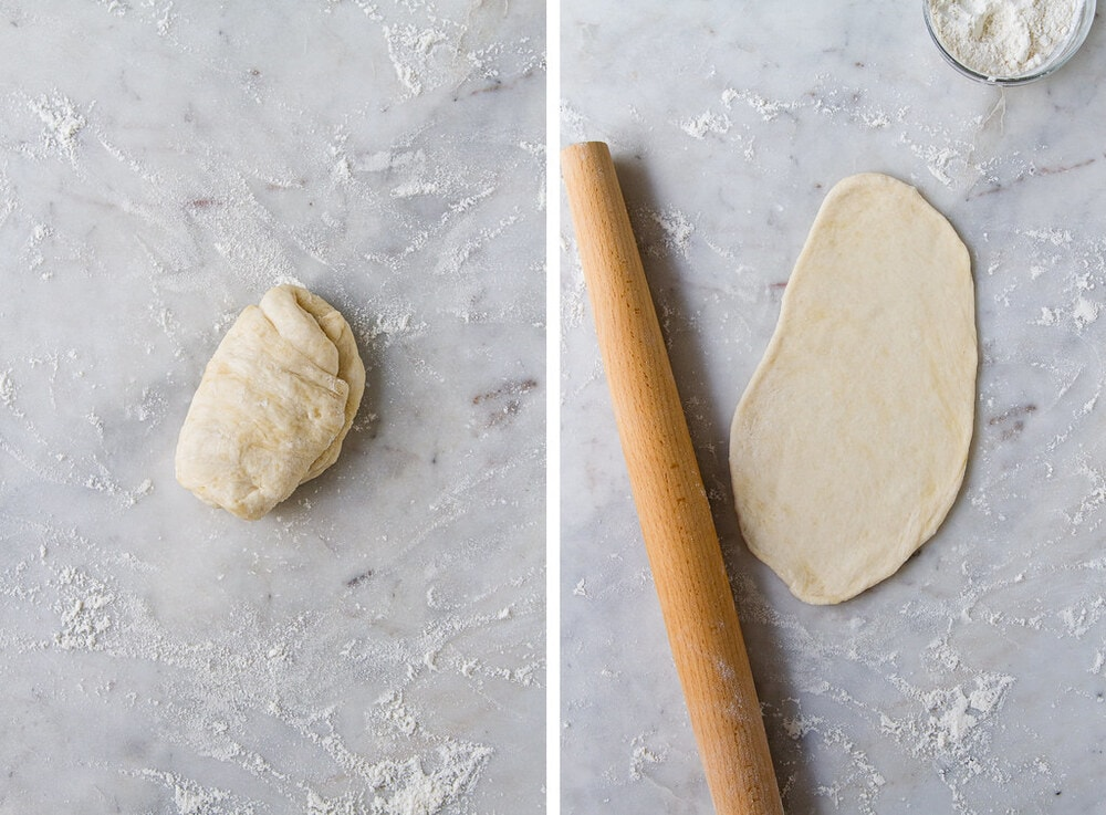 top down view of process of rolling vegan naan dough before cooking.