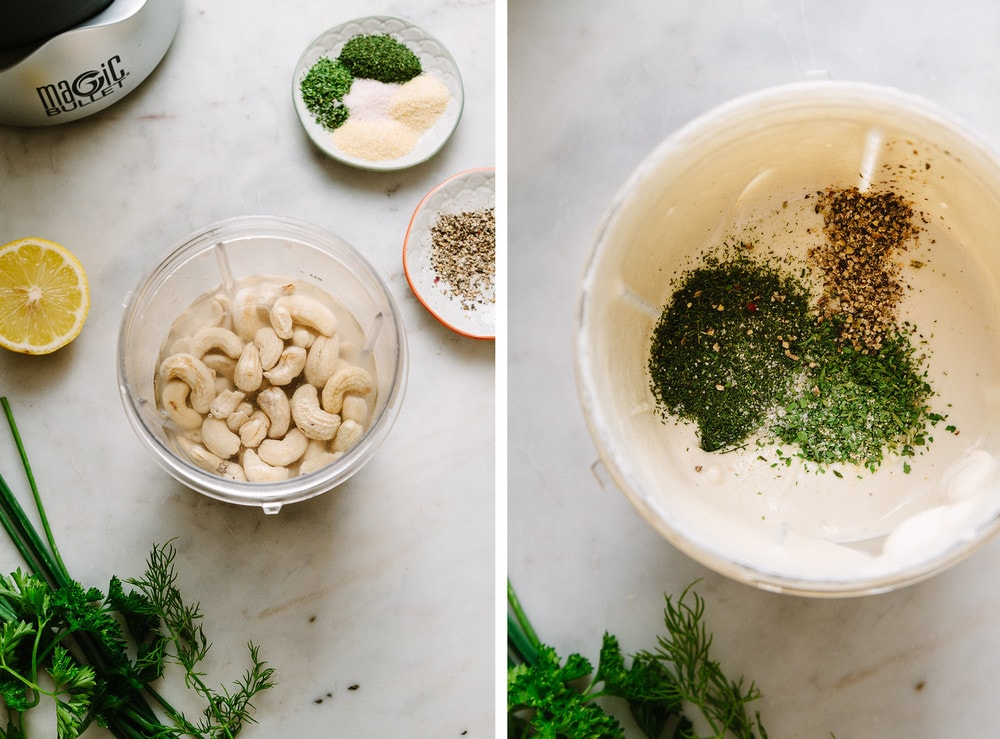 side by side photo of the process of blending cashes and herbs for easy vegan ranch dressing.