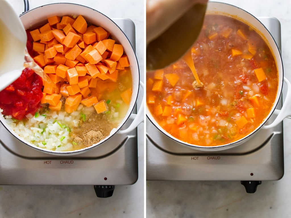 side by side photos showing the process of sauteeing and simmering vegan west African stew.