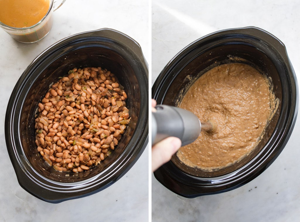 side by side photos showing the process of draining and pureeing slow cooker vegan refried beans.