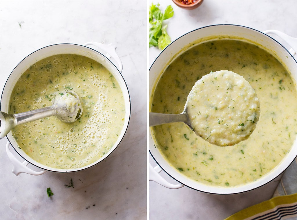 side by side photos showing the process of pureeing healthy celery soup.