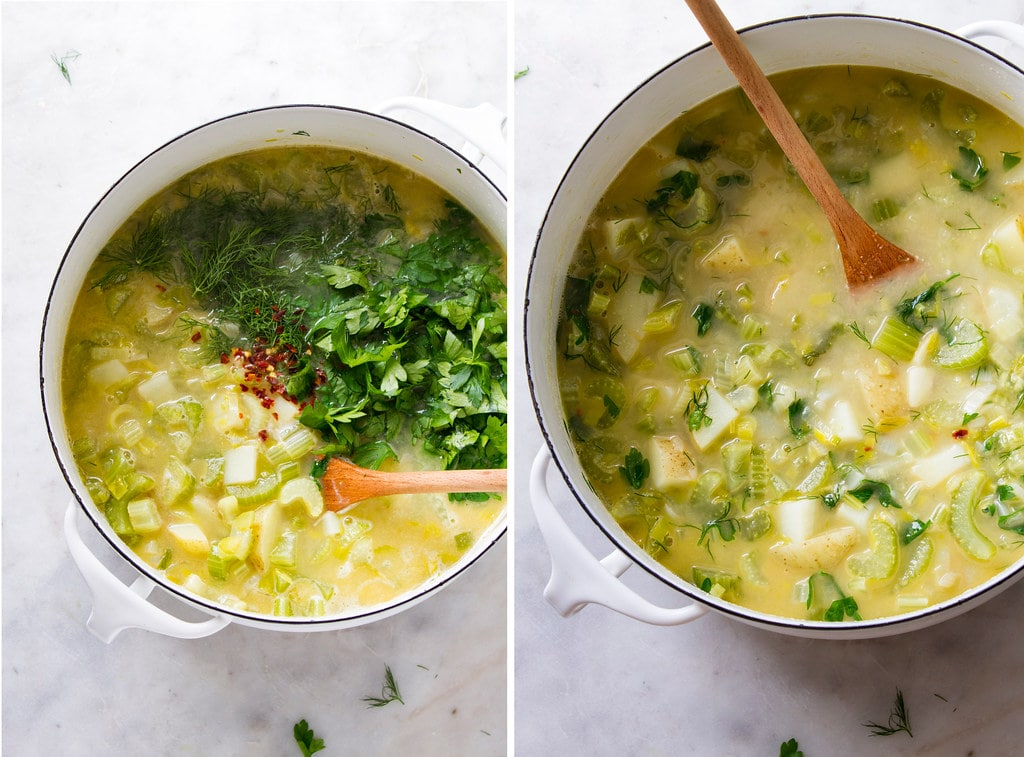 side by side photos of adding fresh herbs to celery soup before pureeing.