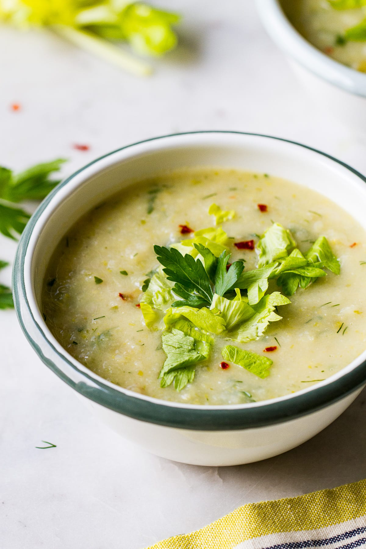 side angle view of a bowl with a serving of healthy celery soup.