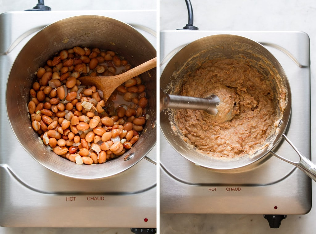 side by side photos of the process of simmering and pureeing refried beans.